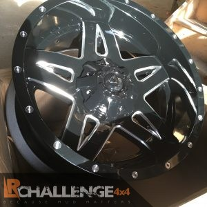 "20"" X 10"" Full Blown Gloss Black Milled Wheels Jeep Wrangler"