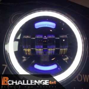 "Ice White 18cm – 7"" Led Spot lights Pair with Round DRL Daylight Running light ultra Bright Base mountings"