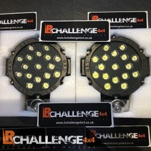 "Ice White 18cm – 7"" Led Spot lights Pair Most power we do 102 watt Super bright Black"