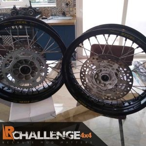 Pair Used Suzuki DRZ400 Excel Rim Supermoto Gloss black direct replacement inc Discs and sprocket