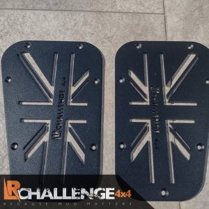 Black Union Jack wing top Air vents to fit Land Rover Defender aluminium
