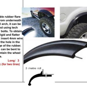 Rubber Flexi Wide Arch 65mm Wide Fender Flares to fit Toyota Land Cruiser Nissan Patrol